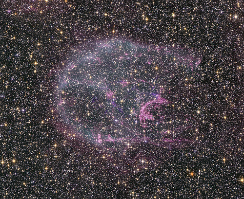 A supernova remnant in the Large Magellanic Cloud, about 160,000 light years from Earth.